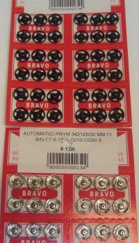 AUTOMATICI PRYM 342129/30 MM.11 B/N CT.6