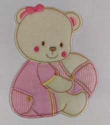 APPLICAZIONE BABY ART. APP01310 ORSETTO CON PALLA MEDIA COLORE ROSA PZ. 1