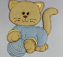 APPLICAZIONE BABY ART. 903BM GATTO CON PALLA GRANDE AZZURRO PZ. 1