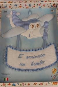 COCCARDA NASCITA AEREOPLANO ART. 932 DIM. 30X27CM. LA CHIOCCIOLINA